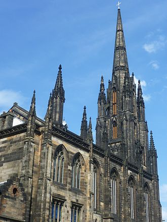 Edinburgh International Festival - The 240-foot-high spire of the Hub, seen from Johnston Terrace