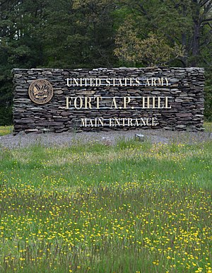 Fort A.P. Hill - Photo of the U.S. Army Garrison Fort A.P. Hill front sign on Route 301, in Virginia in the spring.