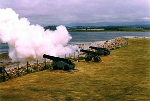 Fort Belan - Cannons firing.