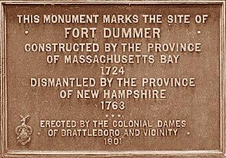 Fort Dummer - Image: Fort Dummer Plaque