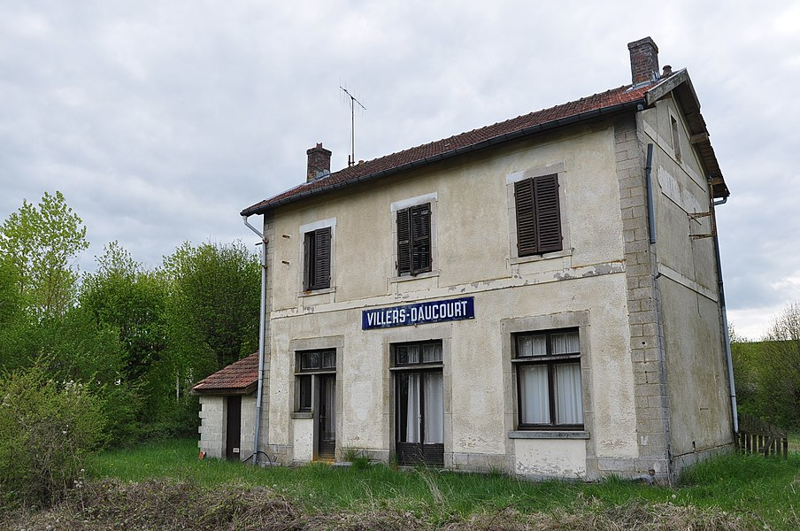 Abandoned railway station of Villers-en-Argonne/Daucourt. The station is located within the municipality of Châtrices (Marne department, France).