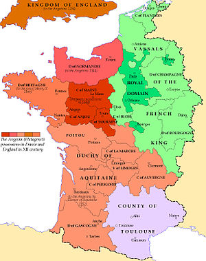 A coloured map of medieval France, showing the Angevin territories in the west, the royal French territories in the east, and the Duchy of Toulouse in the south.