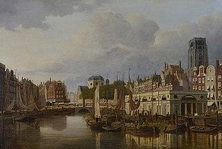 Stadsgezicht Rotterdam met Steiger, Kolk, Grotemarkt met standbeeld van Erasmus en Laurenskerk