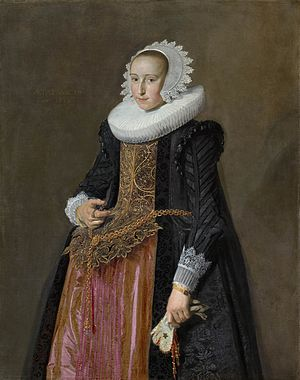 Vlieger (cape) - Portrait of Aletta Hanemans wearing a black vlieger, by Frans Hals