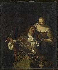 A Man Smoking, and a Woman