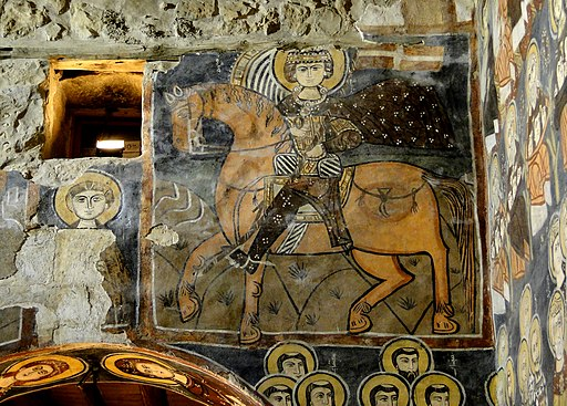 Frescoes, Monastery of Saint Moses the Abyssinian, Mar Musa or Deir Mar Musa al-Habashi, Nabk, approximately 80 kilometers north of Damascus, Syria - 1