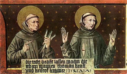 St Anthony of Padua and St Francis of Assisi by Friedrich Pacher Friedrich Pacher - St Anthony of Padua and St Francis of Assisi - WGA16806.jpg