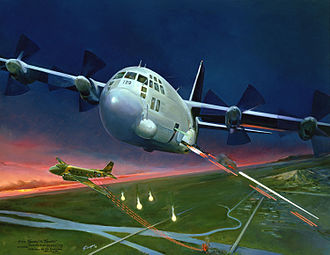 "Gunship - ""From SPOOKY to Spectre"" from the USAF Art Collection, artist depiction of an AC-130 Spectre and AC-47 Spooky gunship, both engaging ground targets."