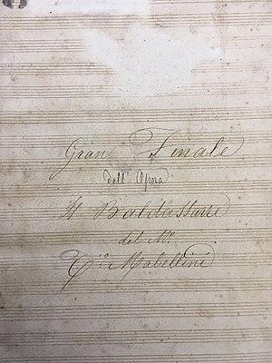 Teodulo Mabellini - Image: Frontespizio Baldassarre Mabellini Pescia