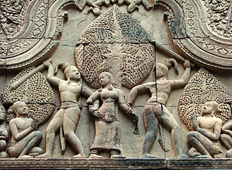 Cambodian art - Stone carving at Banteay Srei, an Angkorian temple consecrated in 967 CE.