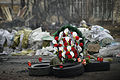 Funeral wreath mantled in memory of those killed during violent clashes of February 20. Kyiv, Ukraine. Events of February 22, 2014..jpg