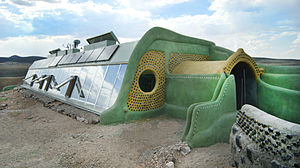 Earthship - South and East view of an Earthship passive solar home