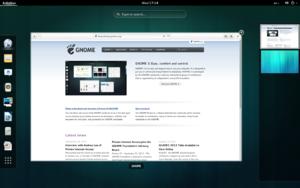 GNOME 3.10 showing the Overview mode