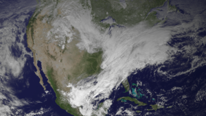 Early 2014 North American cold wave - A GOES 13 satellite image of the nor'easter on January 2, 2014.