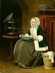 A Lady Sewing, with a Parrot