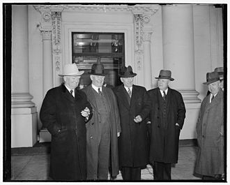 75th United States Congress - (L-R): Vice President John Nance Garner, Senate Majority Leader Alben Barkley, Speaker of the House William Bankhead, and House Majority Leader Sam Rayburn, January 9, 1939