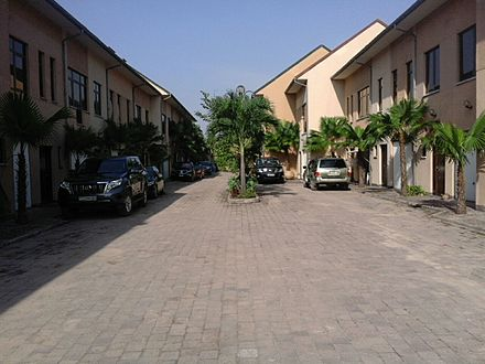 The inside of a gated community in Ngaliema, Kinshasa, DRC. Gated community kinshasa.jpg