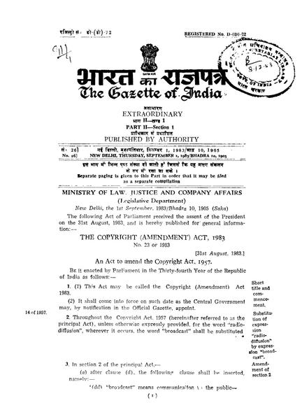 File:Gazette of India - Extraordinary - 1983 - Number 26 pdf