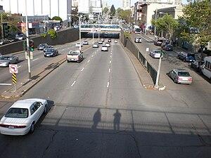 Geary Boulevard - Looking east from the Steiner Street pedestrian overpass