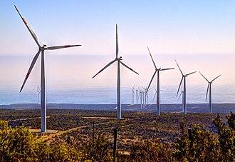 Renewable energy in Chile - Wind farm near Canela, Chile
