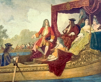 Water Music - Handel (left) and King George I on the River Thames, 17 July 1717. Painting by Edouard Hamman (1819–88).