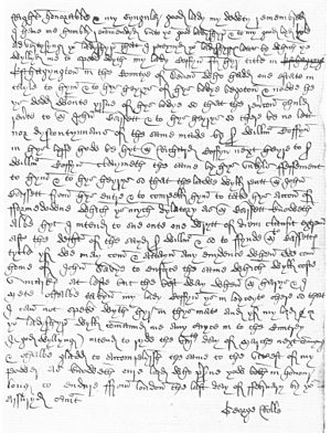 East Hagginton - Letter written by George Rolle to Lady Lisle dated 28 February 1539, Lisle Letters, National Archives
