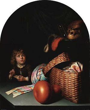 Bubbles (painting) - Still Life with Young Boy blowing Bubbles by Gerrit Dou, a vanitas still-life of the kind which served as a model for Millais' painting.