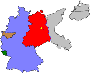 Allied plans for German industry after World War II - Borders of post-World War II Germany (1949). West Germany is shown in blue, East Germany is shown in red, The Saar protectorate under French economic control is shown in green. The Ruhr Area, the industrial engine of West Germany, is shown in brown as it was to some extent under the control of the International Authority for the Ruhr. Pre-war German territory east of the Oder-Neisse line is shown in gray, because it was assigned to Poland or annexed by the Soviet Union. This included Silesia, Germany's second-largest industrial center after the Ruhr. West Berlin is shown in yellow.