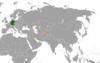 Lage von Deutschland und Tadschikistan
