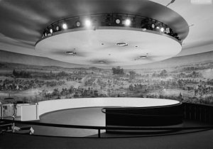 Gettysburg Cyclorama - Interior view of the Gettysburg Cyclorama in the former, Neutra building location