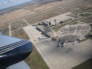 Grand Forks International Airport - Aerial view of airport shortly after takeoff from runway 35L
