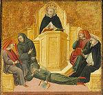 Saint Thomas d Aquin confond Averroès, par Giovanni di Paolo, 1445, 24,7 x 26.2cm, Saint-Louis, Art museum.