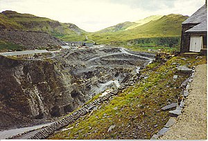 Oakeley Quarry - A 1990 view of Gloddfa Ganol showing the modern open-cast working