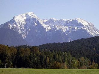 Hoher Göll - The Göll massif from the west; the Hoher Göll is the peak on the left