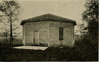 Greased paper window - 1919 photograph of an early-to-mid 19th century schoolhouse in Plain Township, Kosciusko County, Indiana, with a greased-paper window