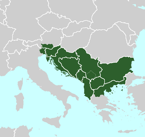 Yugoslav irredentism - Yugoslav irredentist claims (superimposed over modern European borders) as claimed by Josip Broz Tito shortly before to shortly after the end of World War II.