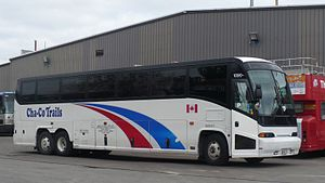 Bus companies in Ontario - PMCL operated Cha-Co Trails coach in Greyhound livery