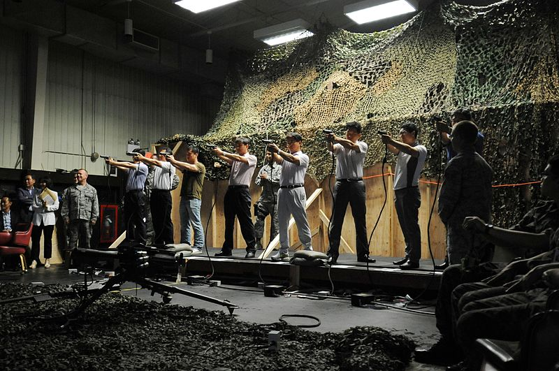 File:Gunsan City Police Department officers take aim with M9 handgun simulator weapons.JPG