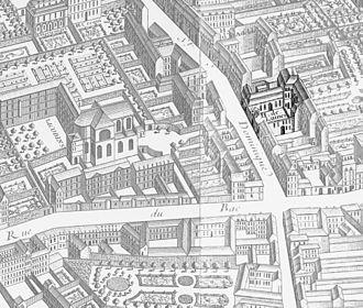 """Hôtel de Chevreuse - The Hôtel de Chevreuse (""""H. de Luines"""") on the 1739 Turgot map of Paris"""