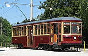 Fully restored 1920 Toronto streetcar.