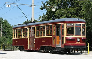 Toronto streetcar system - This Peter Witt streetcar, preserved at the Halton County Radial Railway, has been restored into the TTC's original 1921 livery.