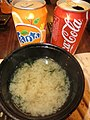 HK North Point 和田 Wada Japanese Restaurant dinner 麵豉湯 Miso soup Mar-2013 canned Fanta Orange n Coca Cola.JPG