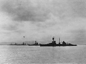 HMS Ajax (1912) - Image: HMS Agincourt with other battleships at Scapa Flow in 1918