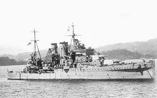HMS Exeter off Sumatra in 1942