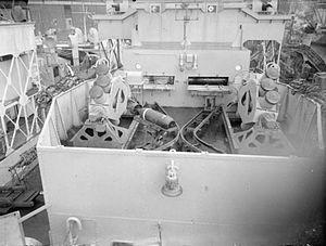 HMS Loch Fada (K390) - Image: HMS Loch Fada Squid launchers 1944 IWM A 26153