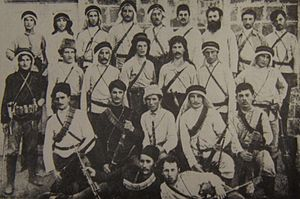 Hashomer - Hashomer members, some wearing keffiyeh and agal in 1909.