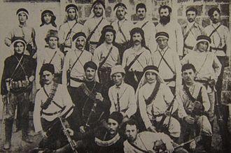 Hashomer - Hashomer members, some wearing keffiyeh and agal in 1909.