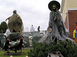 at halloween yards public spaces and some houses may be decorated with traditionally macabre symbols including witches skeletons ghosts cobwebs