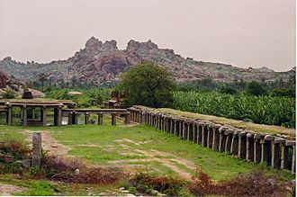 Vijayanagara Empire - Ancient market place and plantation at Hampi.