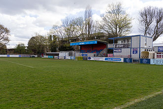 Hampton & Richmond Borough F.C. - The Alan Simpson Stand end of the Beveree Stadium, April 2016
